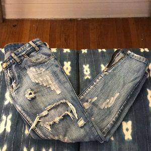 One Teaspoon Distressed Ankle Zip Jeans Sz 26